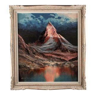 """Heinz Munnich """"Mt. Lake"""" Matterhorn Oil on Canvas Painting"""