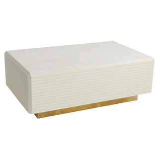 Karl Springer Style Floating Cream Basket Weave Coffee Table