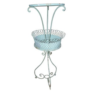French Painted Iron & Tole Wire Two-Tier Stand