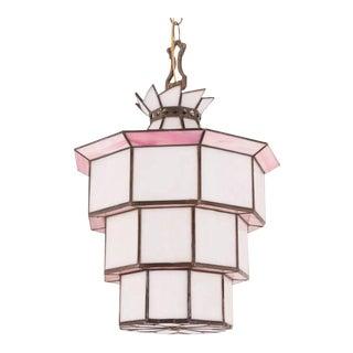 1920's Art Deco Pink & White Leaded Glass Pendant Light