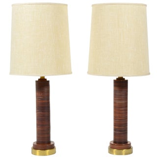 Pair of Table Lamps with Leather Bases