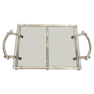 Vintage Silver & Glass Faux Bamboo Serving Tray