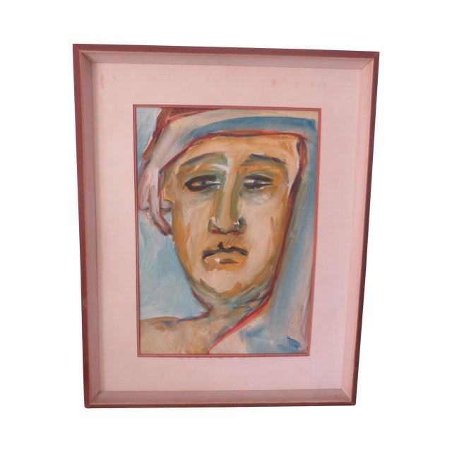 Circa 1970 Modernist Portrait Painting - Image 1 of 7