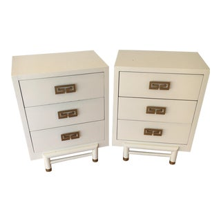 Mid-Century White Nightstands - A Pair