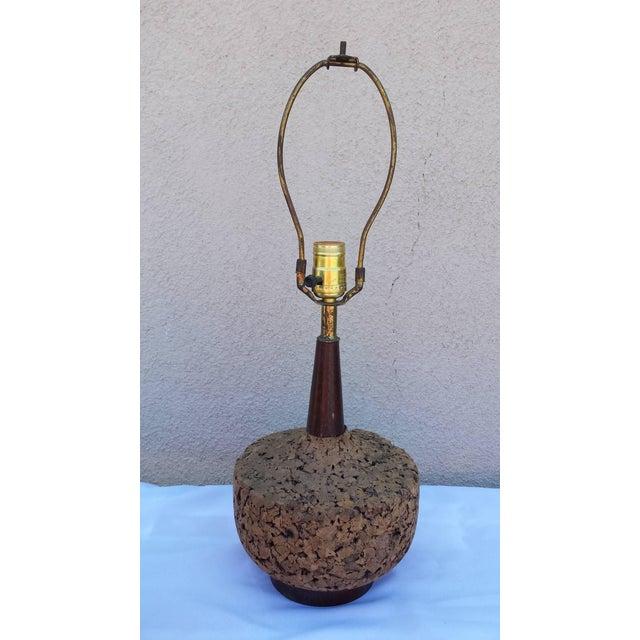 Mid-Century Danish Modern Cork Lamp - Image 2 of 6