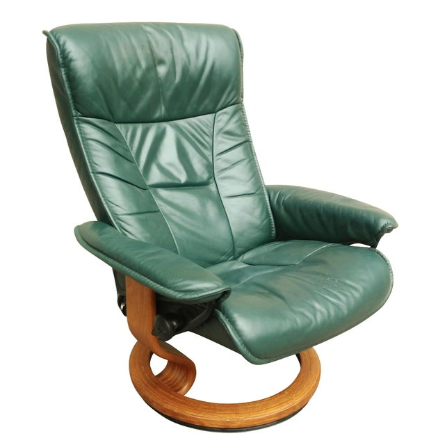 Green Leather Recliner By Ekornes Chairish