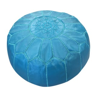 Teal Leather Moroccan Pouf