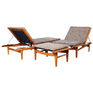 Pair of Oak Chaise Lounges by Hans Wegner