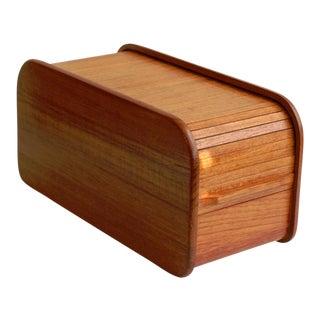 Kalmar Teak Roll Top Desk Organizer Box