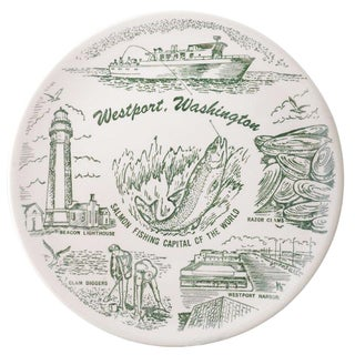 Westport, Washington Souvenir Transferware Plate