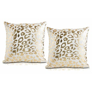 """Cita"" Gold Foil Cheetah Print Pillows - A Pair"
