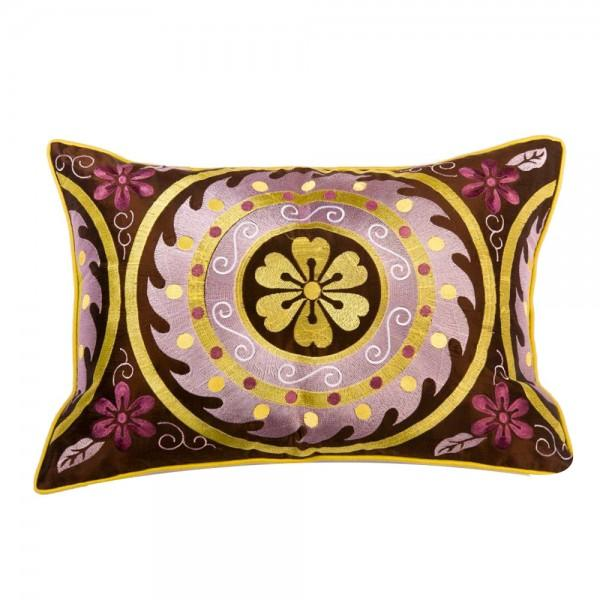 Image of Purple Embroidered Moroccan Pillow