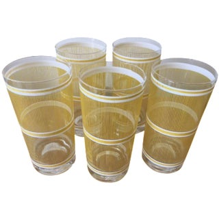 Georges Briard Yellow Stripe Glasses - Set of 5