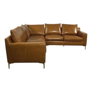 Modern Saddle Leather Sectional Sofa
