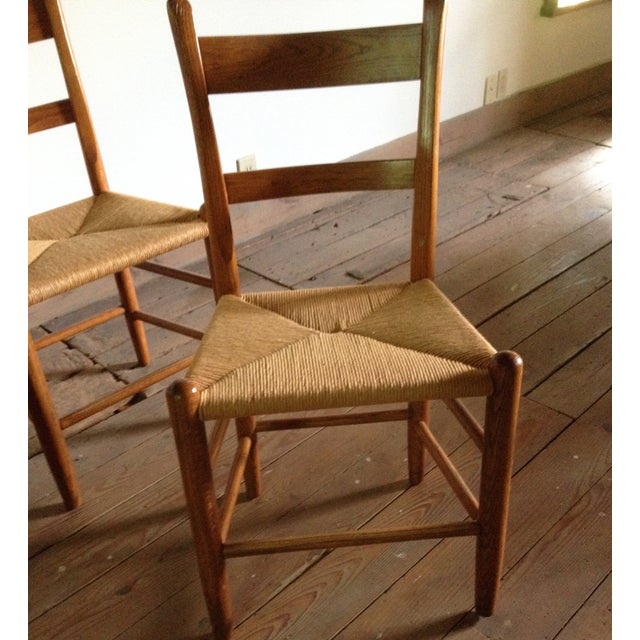 American Dining Chairs With Rush Seats - Set of 4 - Image 3 of 4