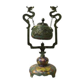 Chinese Metal Enamel Cloisonne Dragon Incense Burner Figure