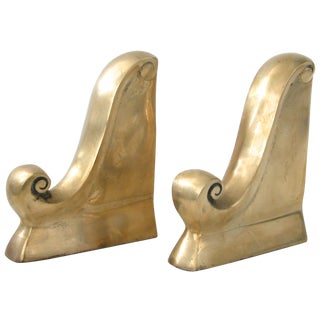Brass Scroll Bookends - A Pair