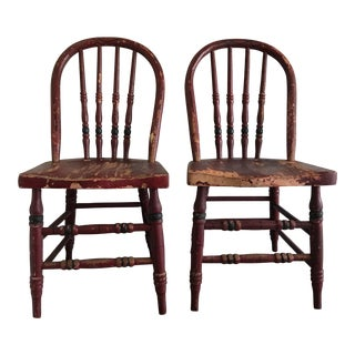 Maroon Rustic Children's Chairs - A Pair