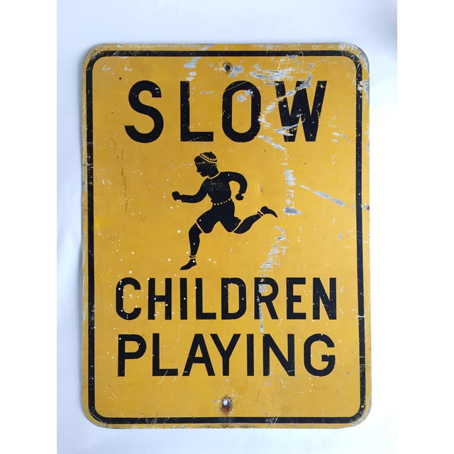 "Image of Vintage ""Slow Children Playing"" Road Sign"