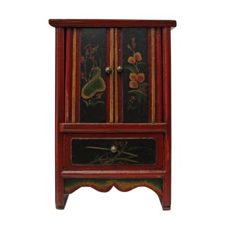 Vintage Chinese Mini Red Golden Carving Chest Cabinet