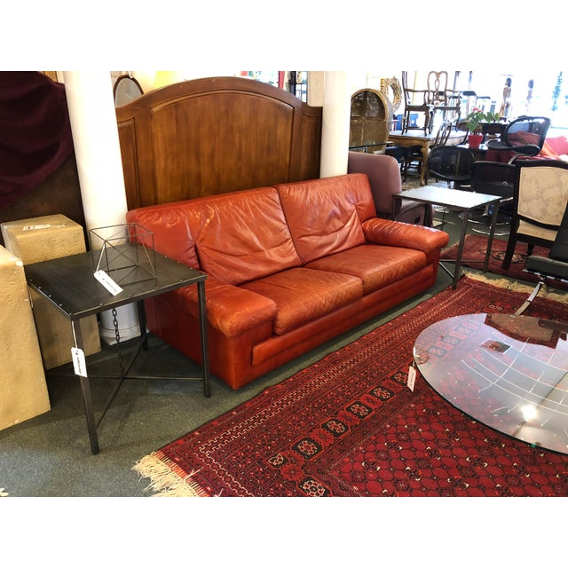 Roche Bobois Vintage Red Leather Sofa - Image 9 of 10