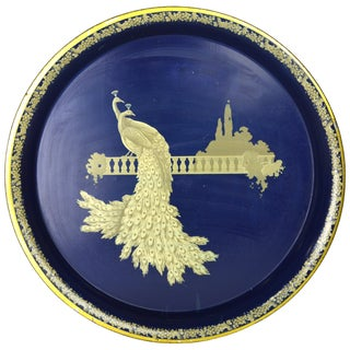Vintage Blue & Gold Peacock Tray
