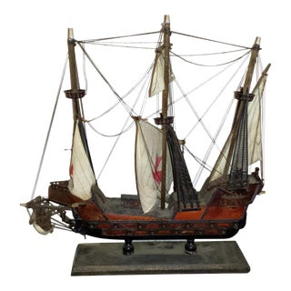 Antique Wooden European Ship Galleon
