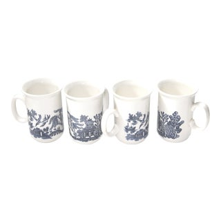 Churchill Blue Willow Coffee Mugs - Set of 4