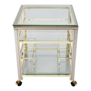 Mid-Century Modern Brass and Glass Trolley Table Gold Bar Cart