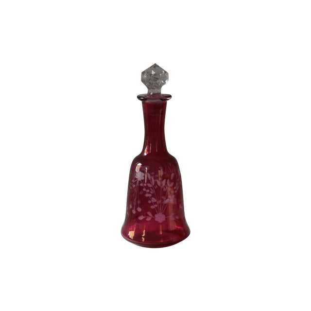 Cranberry Etched Glass Decanter - Image 1 of 4