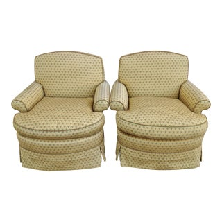 Upholstered Canary Yellow Armchairs - A Pair