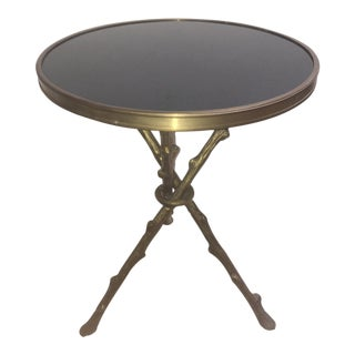 Black Marble & Brass Twig Accent Table