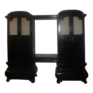 Black Art Deco Armoires With Shelf, Light and Mirror in Between - a Pair