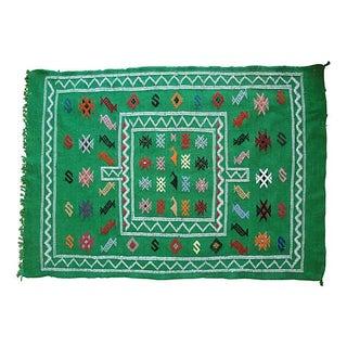 Moroccan Green Berber Rug - 4'10'' X 3'3''