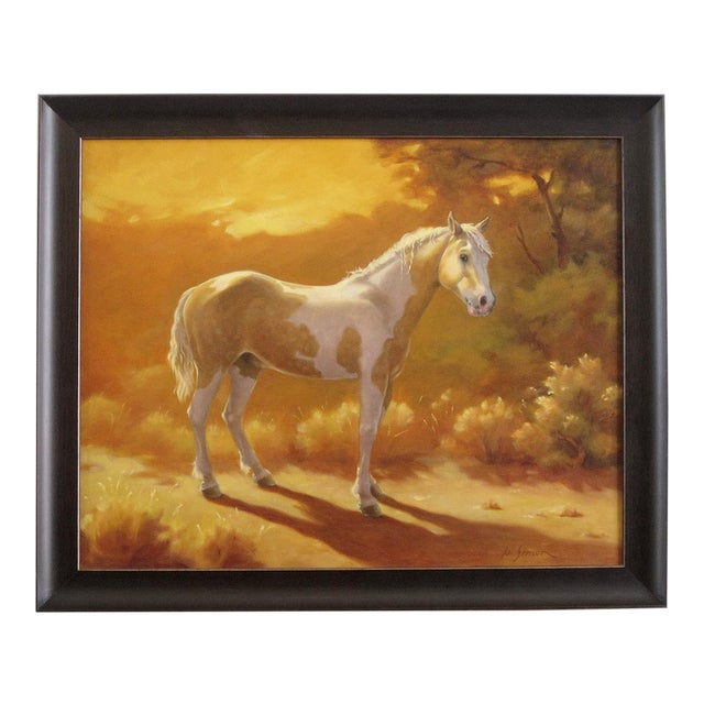 "Ute Simon ""Sunset Over Moon"" Horse Painting - Image 1 of 6"