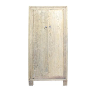 Chinese Rustic Rough Raw Tall Storage Cabinet
