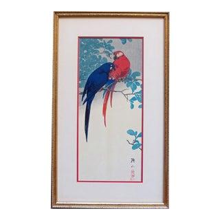 Vintage Ito Sozan Japanese Woodblock Macaw Print