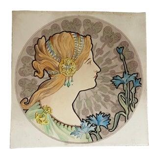 Antique Art Nouveau Watercolor Fashion Painting