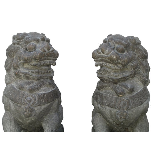 Vintage Stone Foo Dogs- A Pair - Image 5 of 6