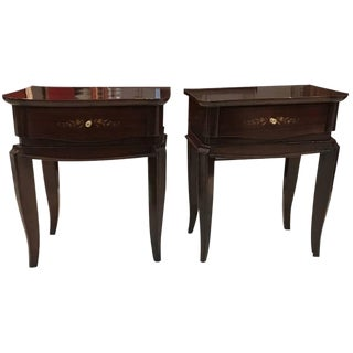 Jules Leleu Style French Art Deco Mother-of-Pearl Nightstands - A Pair