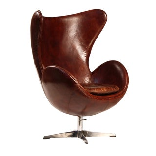 Aged Leather Egg Chair