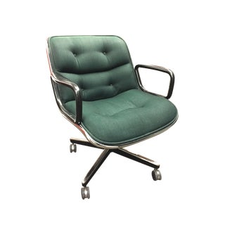 Charles Pollock For Knoll Chair In Green Wool