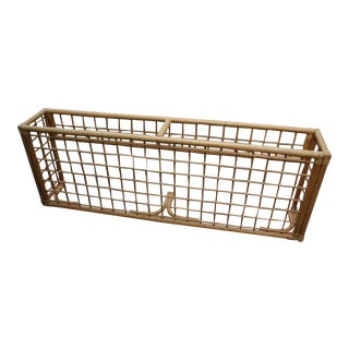 Rattan Bamboo Wicker Graphic Grid Console Table