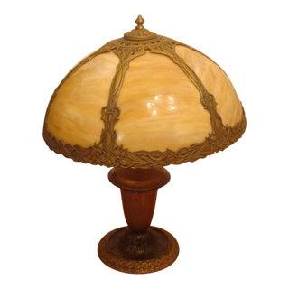 Slag Glass Leaded Table Lamp