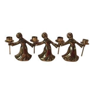 Vintage Mid-Century Modern Brass Angel Candle Holders