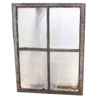 Four Pane Chicken Wire Glass Window With Galvanized Metal Frame
