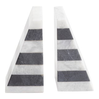 Color Blocked Marble Bookends - a Pair