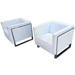 Milo Baughman-Style Cube Chairs - A Pair