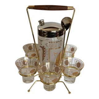 Mid-Century Modern Mayan Calendar Cocktail Shaker and Lo-ball Set in Caddy