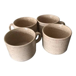 Vintage Ivory Speckled Glazed Mugs - Set of 4